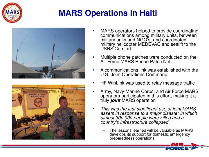 MARS Operations in Haiti
