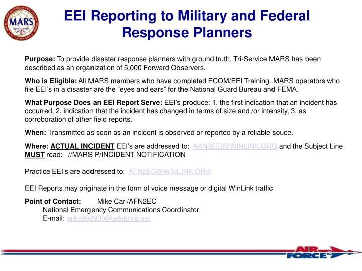 EEI Reporting to Military and Federal