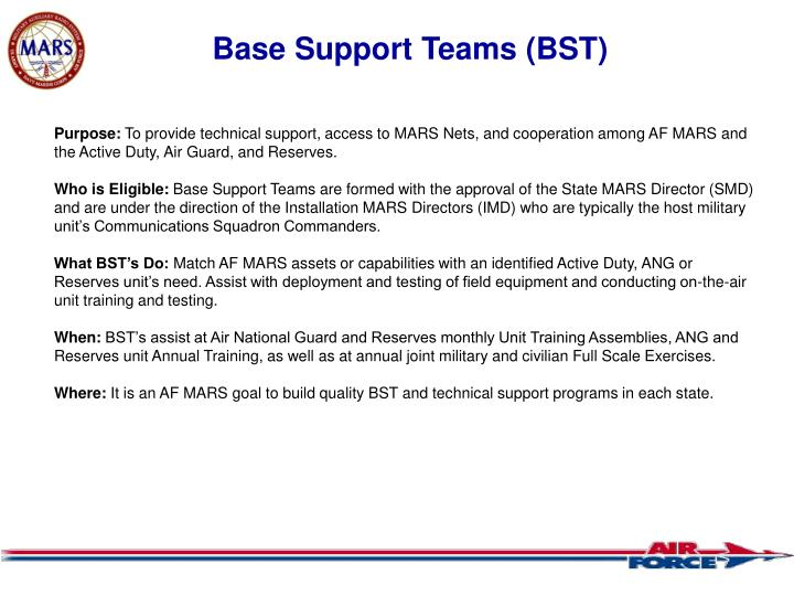 Base Support Teams (BST)