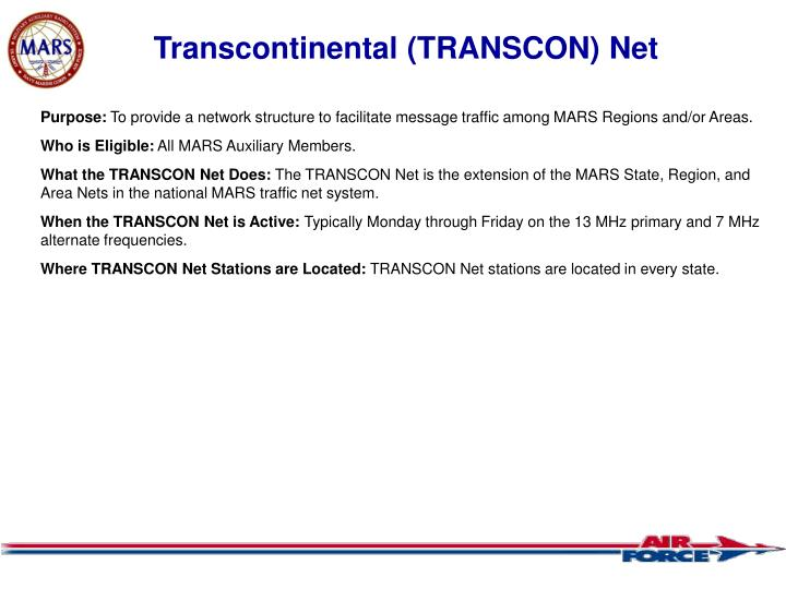 Transcontinental (TRANSCON) Net