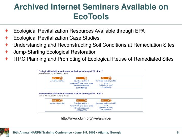 Archived Internet Seminars Available on EcoTools