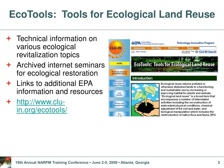 Ecotools tools for ecological land reuse