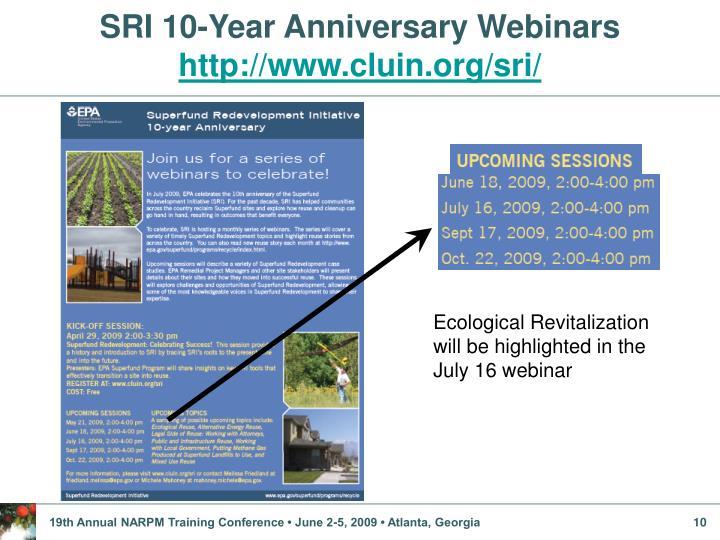 SRI 10-Year Anniversary Webinars