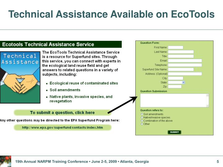 Technical Assistance Available on EcoTools