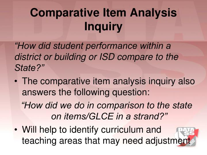 Comparative Item Analysis Inquiry
