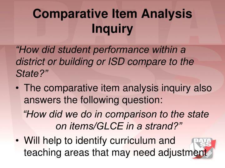 Comparative Item Analysis Inquiry