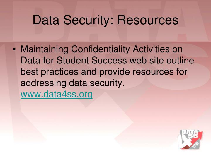 Data Security: Resources