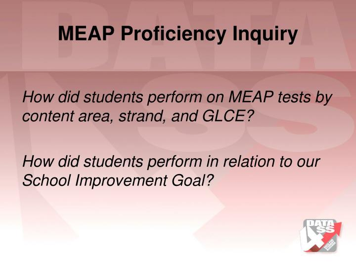 MEAP Proficiency Inquiry