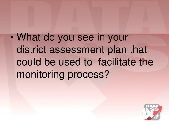 What do you see in your district assessment plan that could be used to  facilitate the monitoring process?
