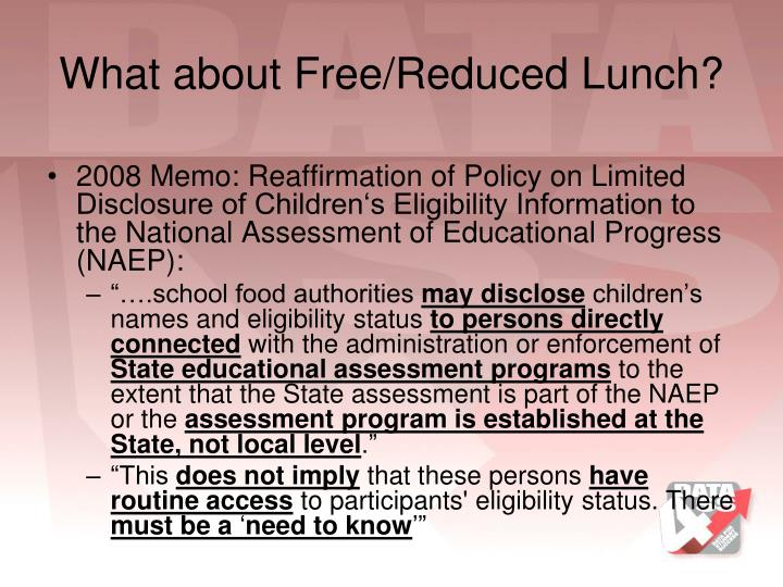 What about Free/Reduced Lunch?