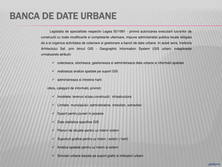 Banca de date urbane