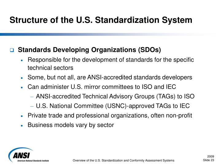 Structure of the U.S. Standardization System