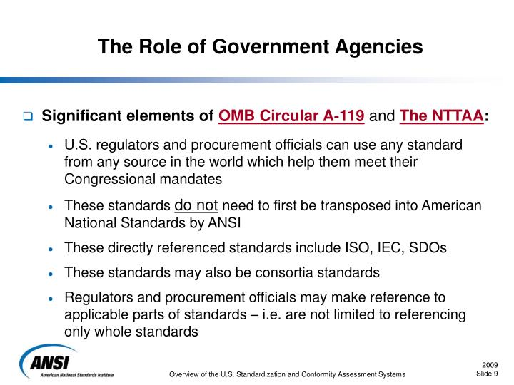 The Role of Government Agencies