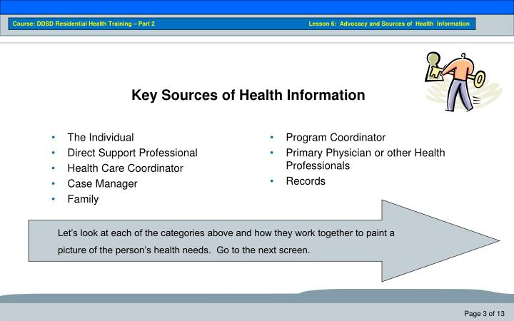 Key sources of health information