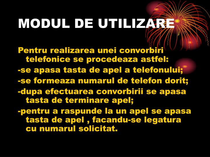 MODUL DE UTILIZARE
