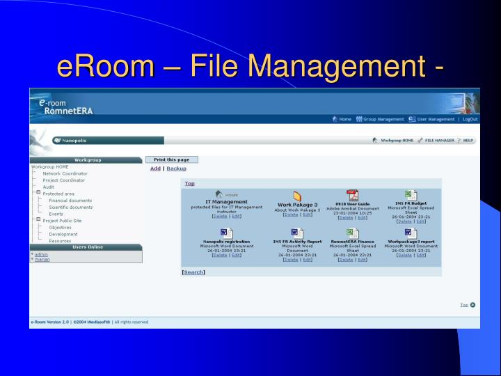 eRoom – File Management -