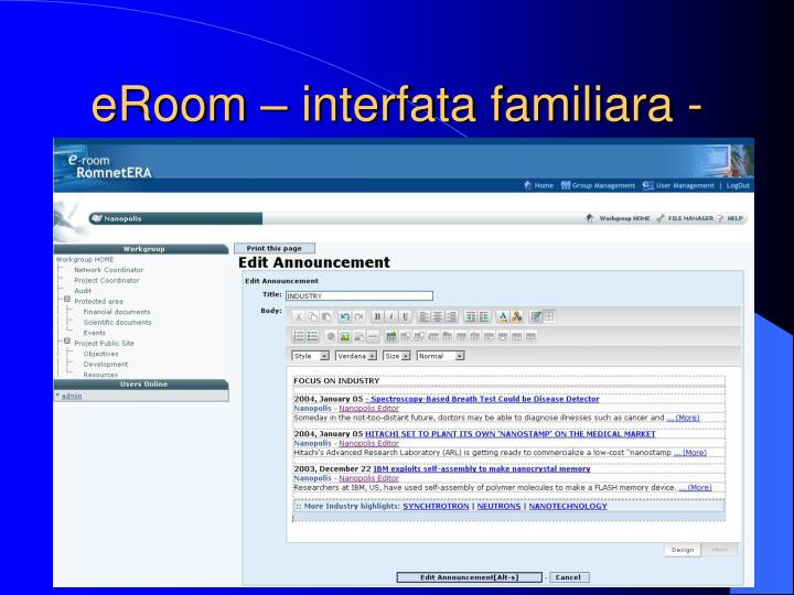 eRoom – interfata familiara -