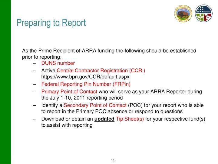 Preparing to Report