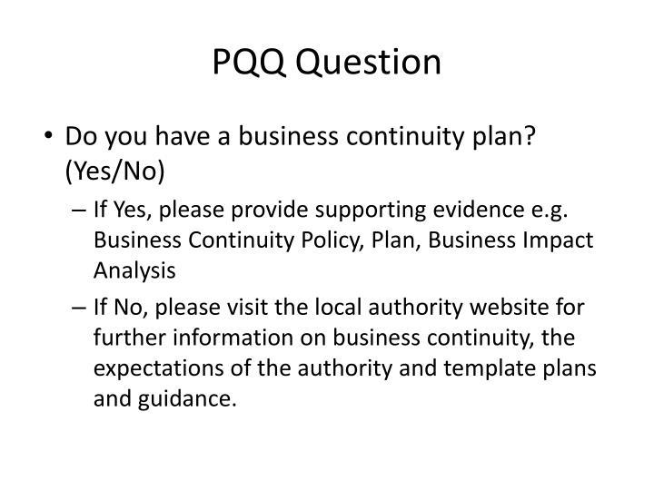 PQQ Question