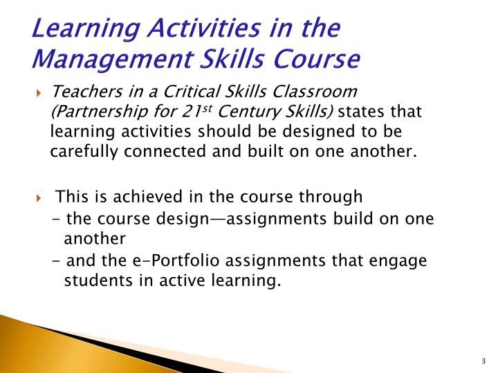 Learning Activities in the Management Skills Course