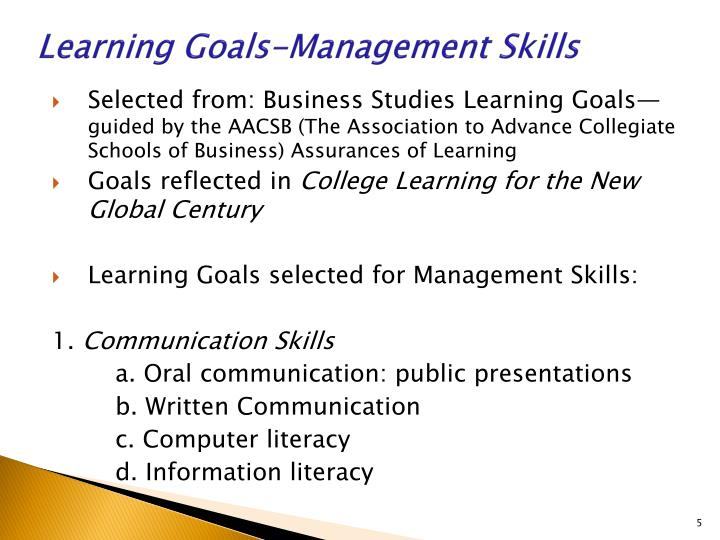 Learning Goals-Management Skills