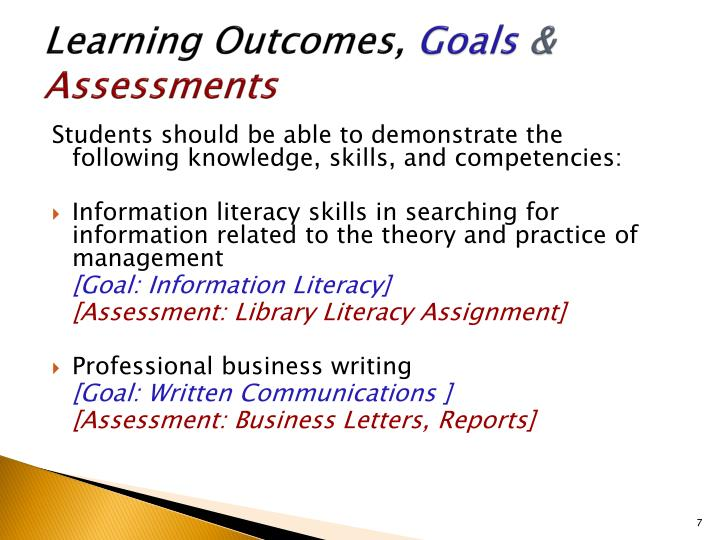 learning outcomes assessment essay