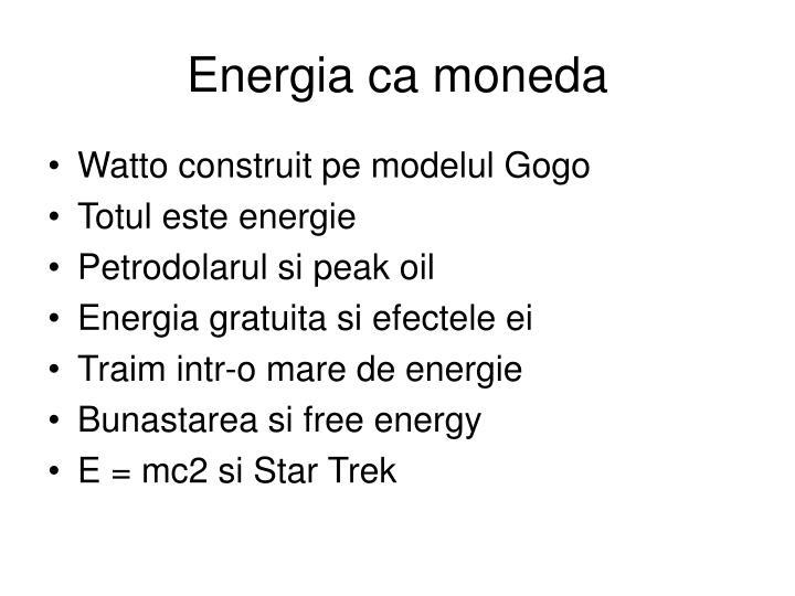Energia ca moneda