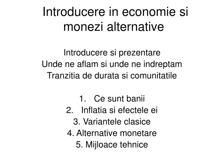 Introducere in economie si monezi alternative