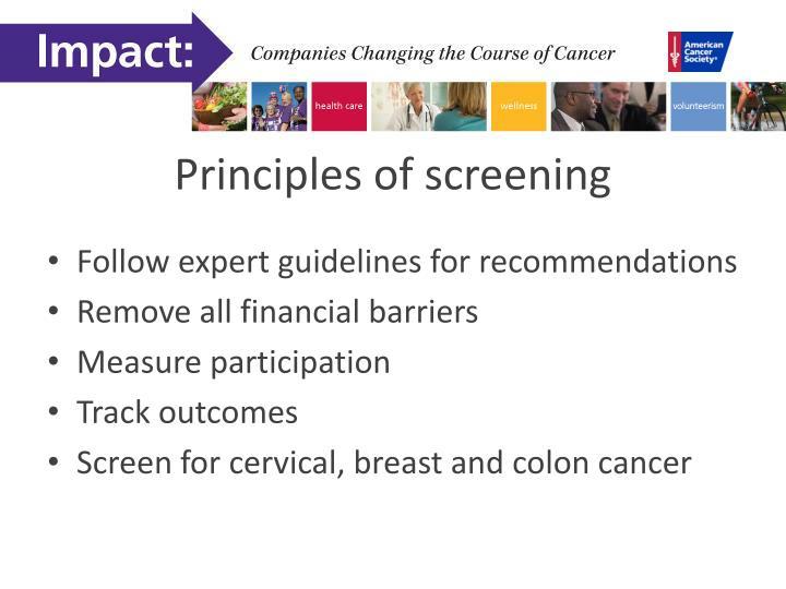 Principles of screening