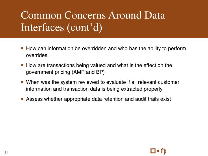 Common Concerns Around Data Interfaces (cont'd)