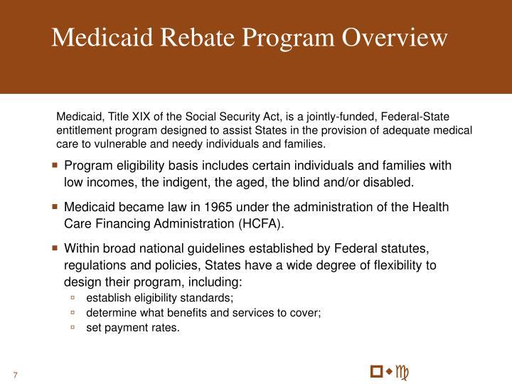 Medicaid Rebate Program Overview