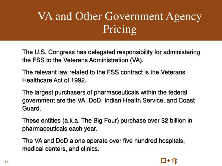 VA and Other Government Agency Pricing