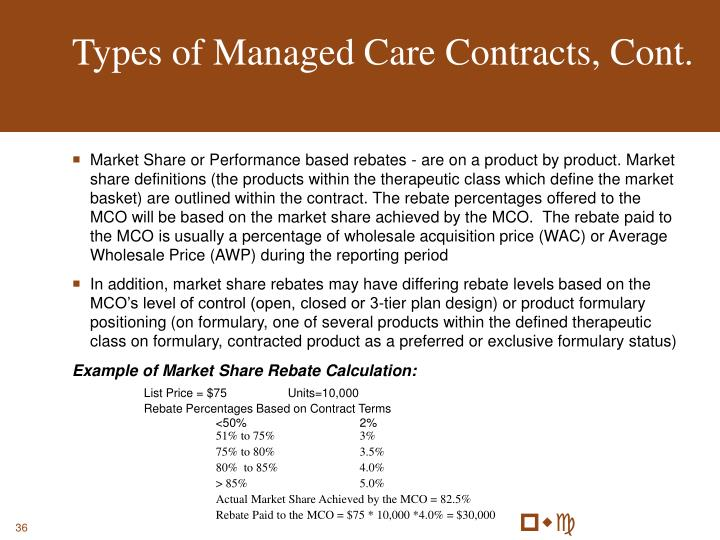 Types of Managed Care Contracts, Cont.