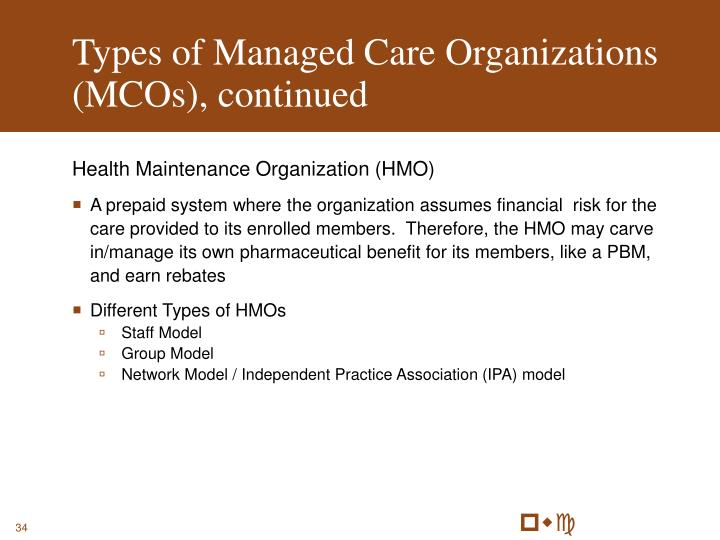 Types of Managed Care Organizations (MCOs), continued