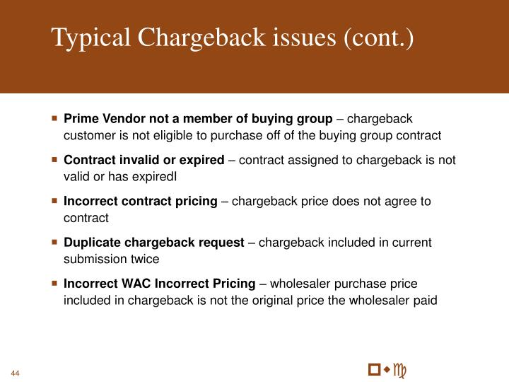 Typical Chargeback issues (cont.)