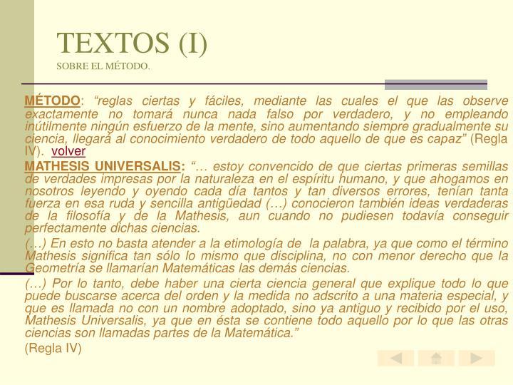 TEXTOS (I)