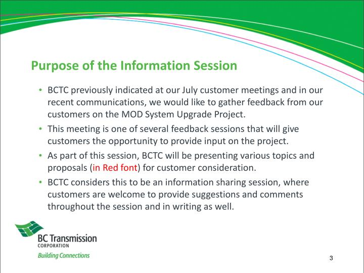 Purpose of the information session