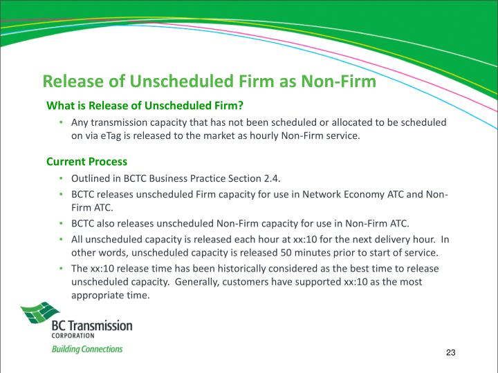 Release of Unscheduled Firm as Non-Firm