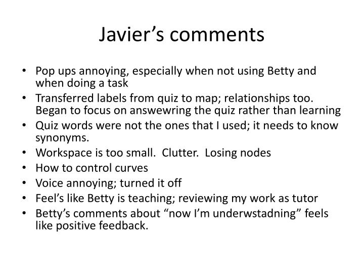 Javier's comments