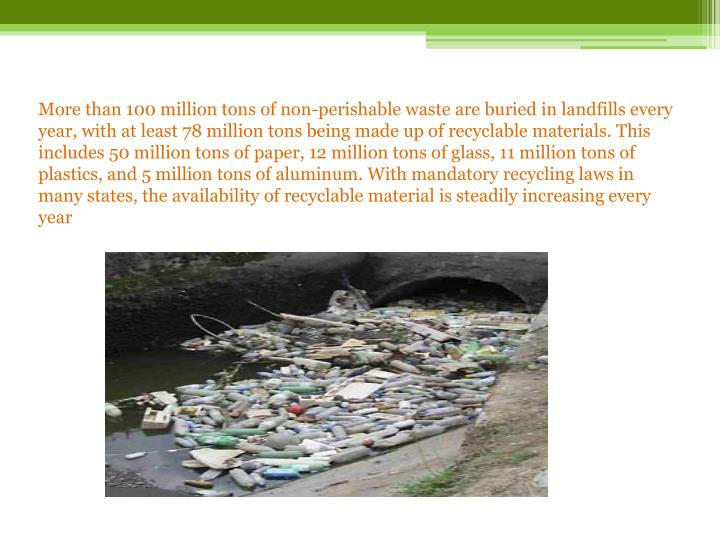 More than 100 million tons of non-perishable waste are buried in landfills every year, with at least 78 million tons being made up of recyclable materials. This includes 50 million tons of paper, 12 million tons of glass, 11 million tons of plastics, and 5 million tons of aluminum. With mandatory recycling laws in many states, the availability of recyclable material is steadily increasing every year