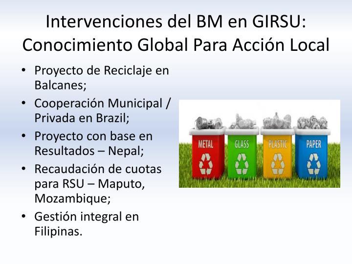 Intervenciones del BM en GIRSU: