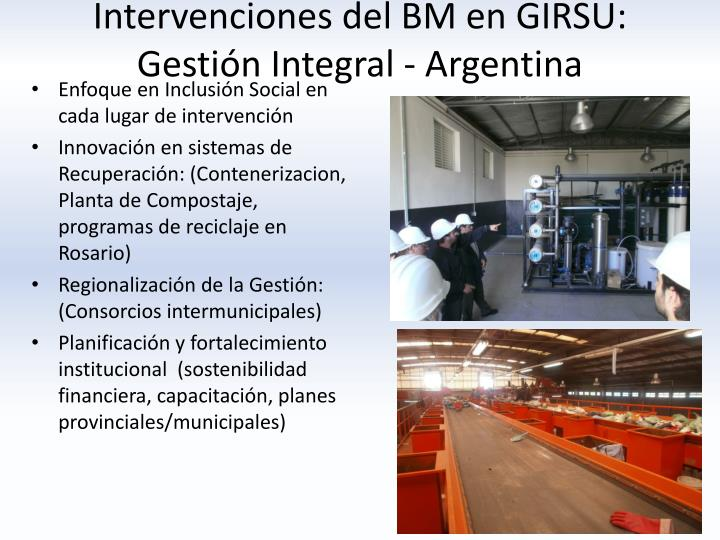 Intervenciones del BM en