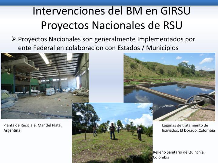 Intervenciones del BM en GIRSU