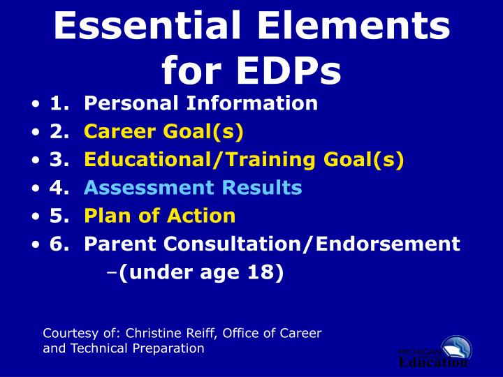 Essential Elements for EDPs