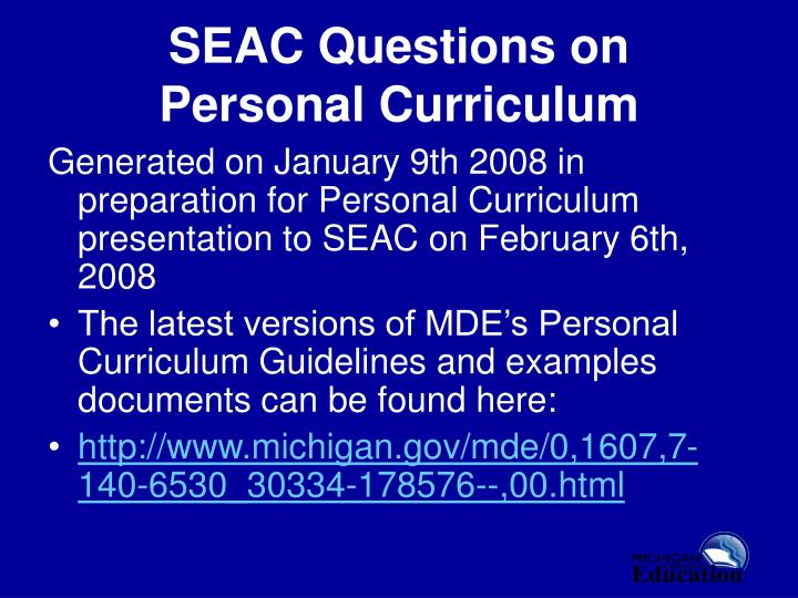 SEAC Questions on