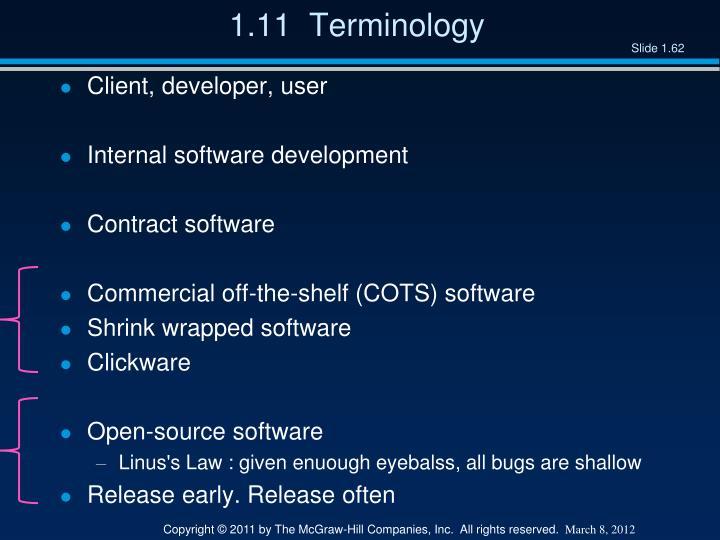 1.11  Terminology