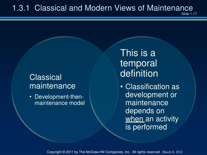 1.3.1  Classical and Modern Views of Maintenance