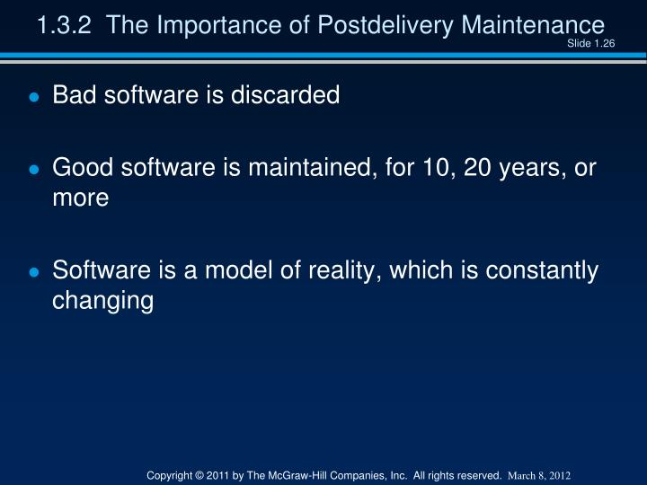 1.3.2  The Importance of Postdelivery Maintenance