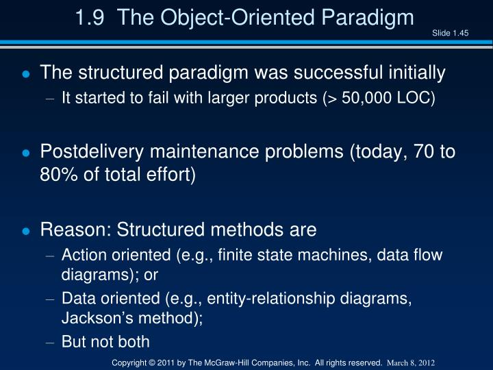 1.9  The Object-Oriented Paradigm