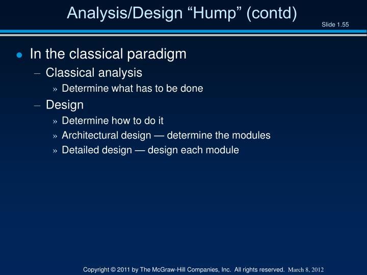 """Analysis/Design """"Hump"""" (contd)"""